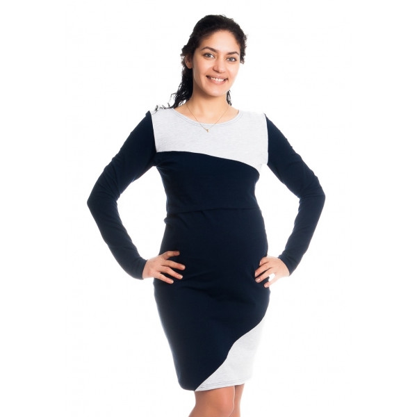 Be MaaMaa Tehotenské / dojčiace šaty Jane, dlhý rukáv - granátové