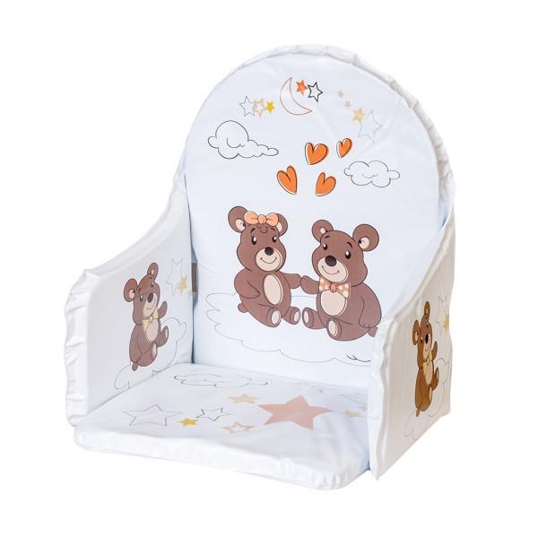 Vložka do drevených jedálenských stoličiek typu New Baby Victory biela medvedíkovia