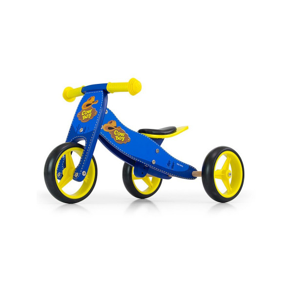 Detské multifunkčné odrážadlo bicykel 2v1 Milly Mally JAKE blue Cowboy