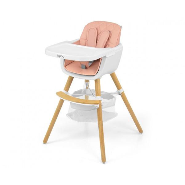 Jedálenská stolička Milly Mally 2v1 Espoo rúžová
