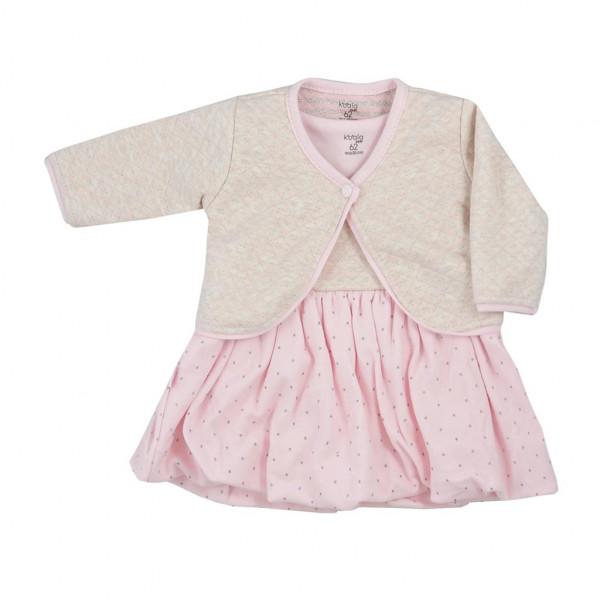 Dojčenské bavlnené šatôčky s bolerkom Koala Dots ružové