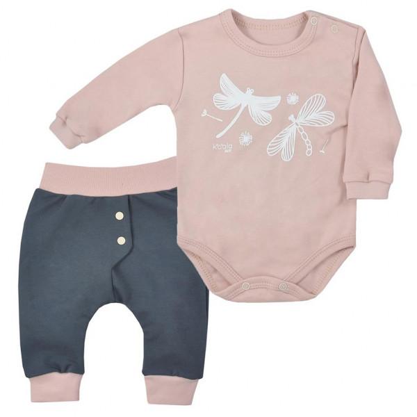 2-dielna bavlnená dojčenská súprava Koala Vážka vintage ružová