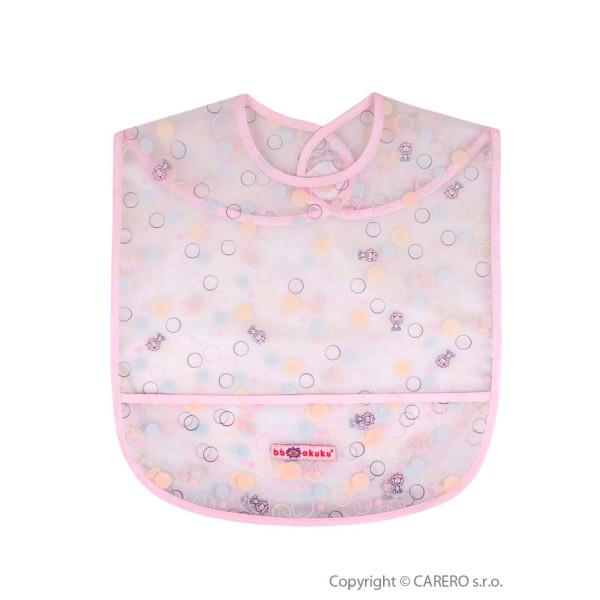 Detský podbradník s kapsičkou Akuku ružový s bublinkami