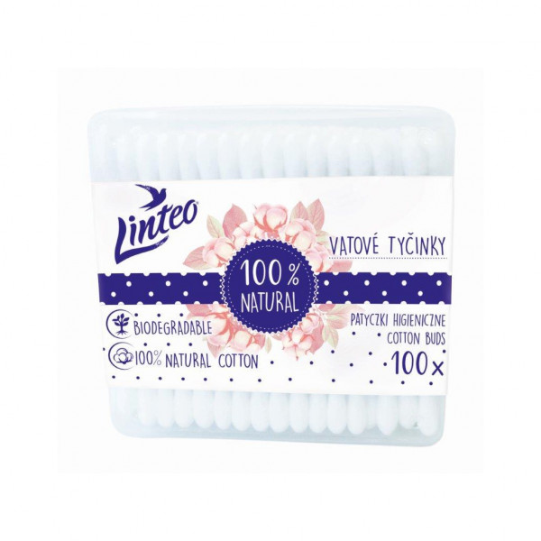 Papierové vatové tyčinky 100% natural Linteo 100 ks v boxe