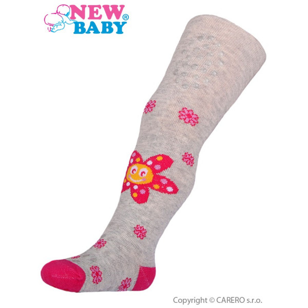 Bavlnené pančucháčky New Baby 3xABS sivé s kvetinkou