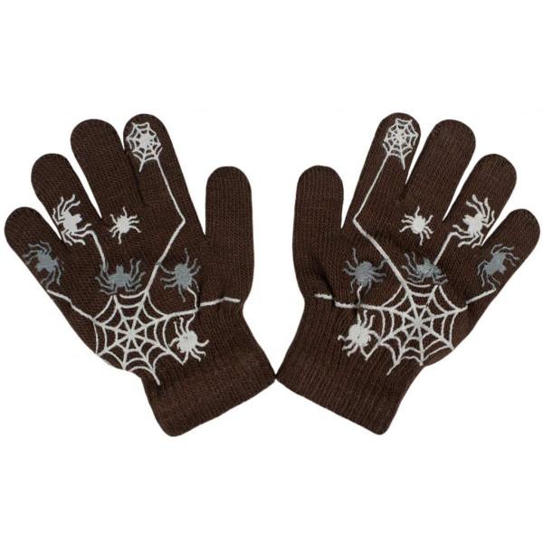 Detské zimné rukavičky New Baby s pavúkom hnedé
