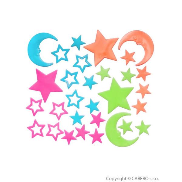 Svietiace samolepky Bayo hviezdičky - 30 ks