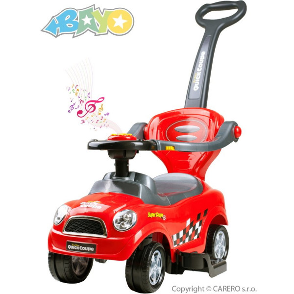 Detské hrajúce jazdítko-odrážadlo 3v1 Bayo Super Coupe red