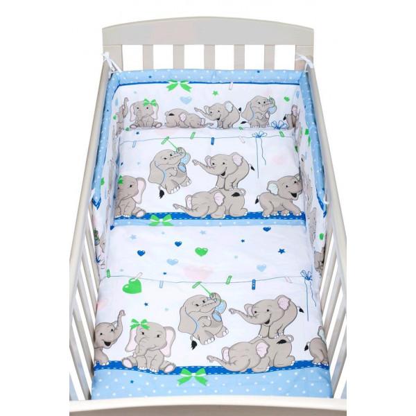 2-dielne posteľné obliečky New Baby 90/120 cm modré so sloníky