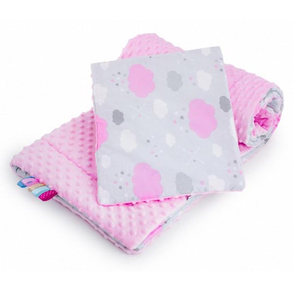 Obojstranný Set z Minky do kočíka New Baby obláčik ružový