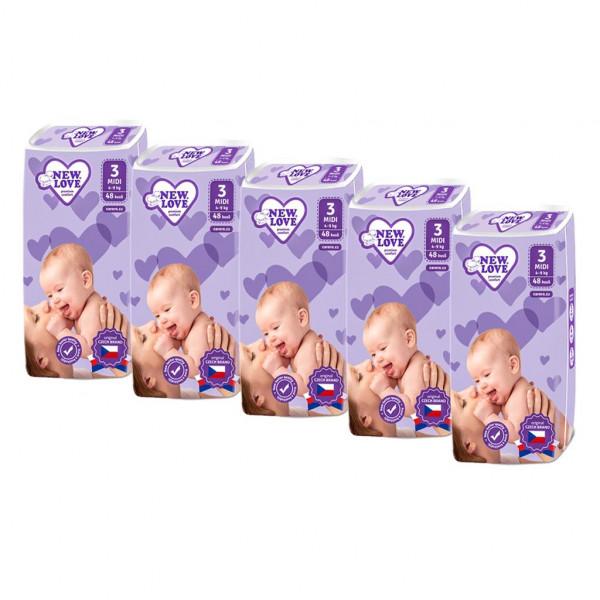 MEGAPACK Detské jednorázové plienky New Love Premium comfort 3 MIDI 4-9 kg 5x48 ks
