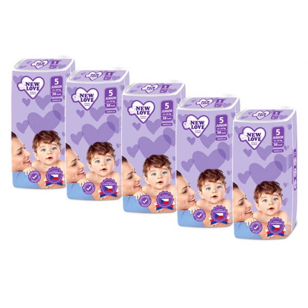 MEGAPACK Detské jednorázové plienky New Love Premium comfort 5 JUNIOR 11-25 kg 5x38 ks