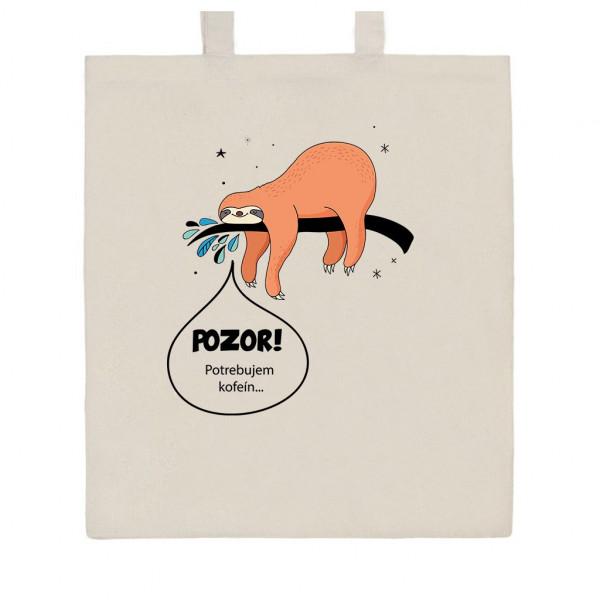 Bavlnená nákupná taška prírodná s potlačou New Baby POZOR! Potrebujem kofeín...