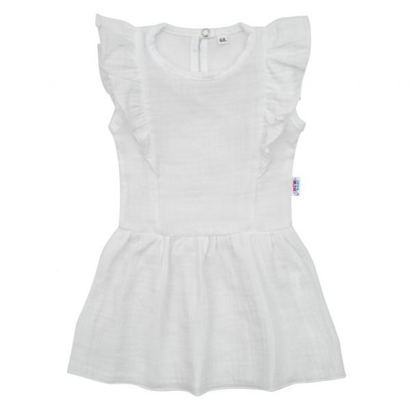 Dojčenské mušelínové šaty New Baby Summer Nature Collection biele